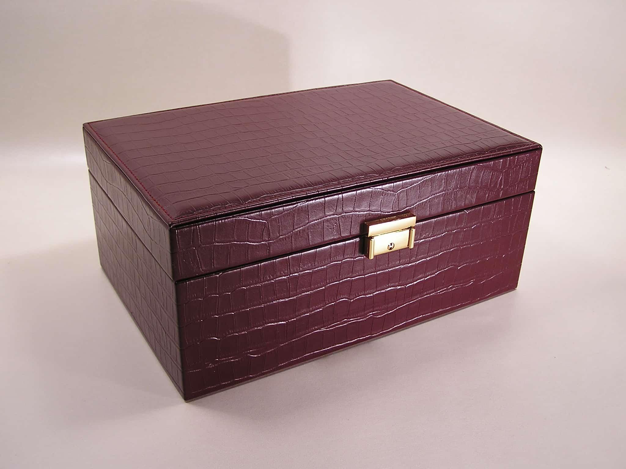 jewelery box real leather crocodile print
