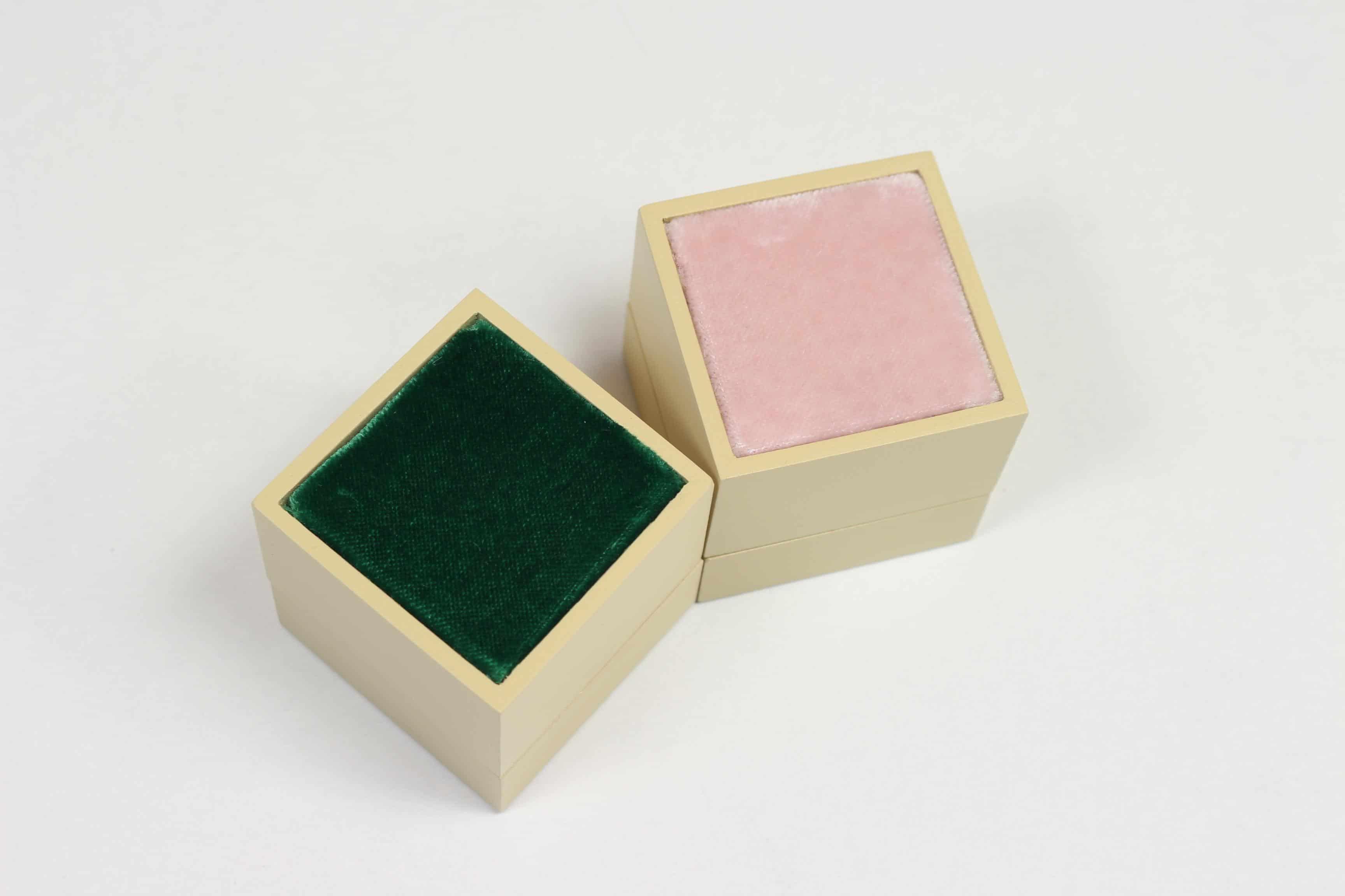 wedding velvet ring box green pink